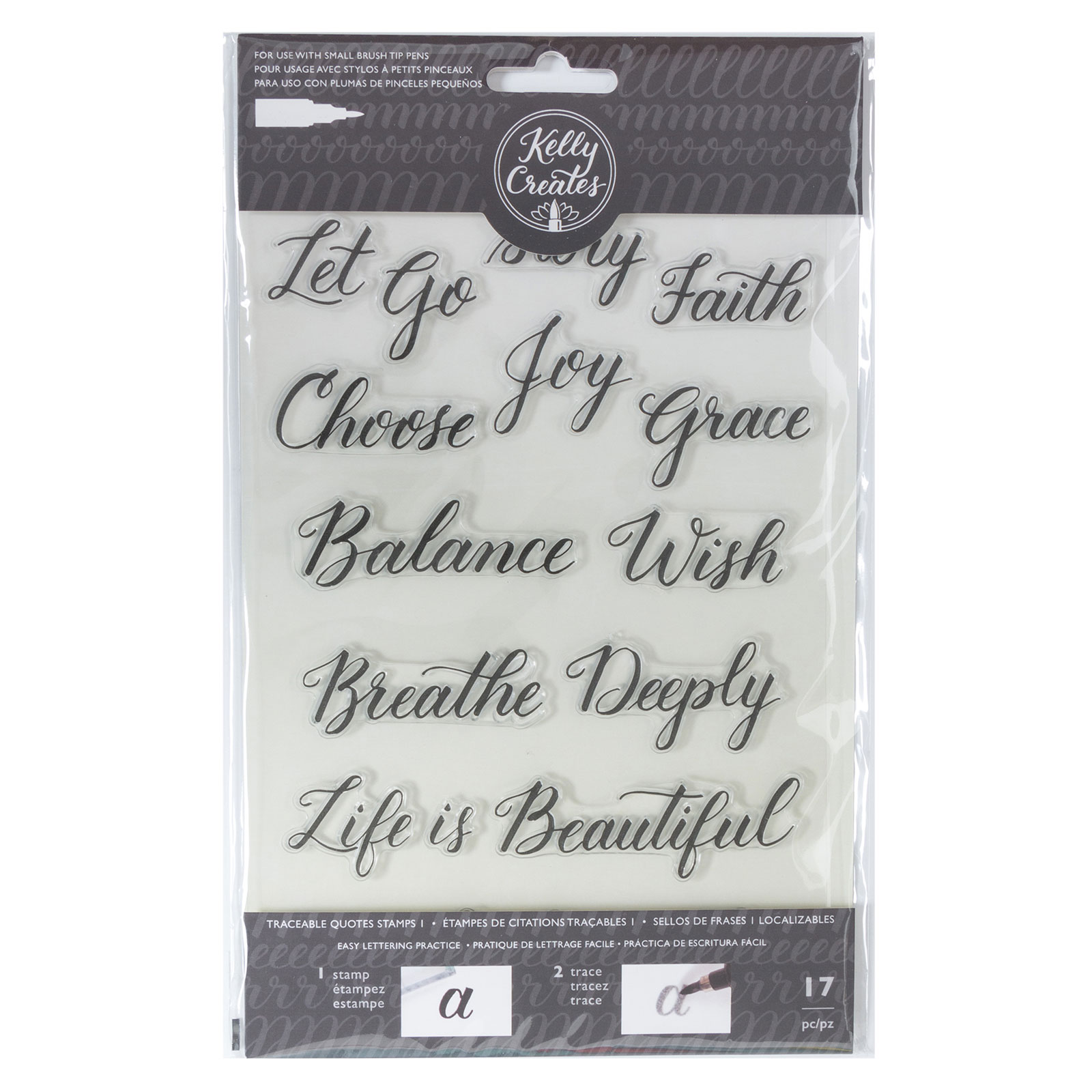 W346400 Traceable Acrylic Stamps Quotes1 Back 343553 Kelly Creates Black Brush Pen Set